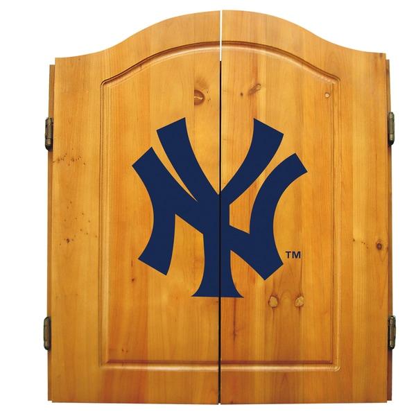 MLB New York Yankees Wooden Dartboard Cabinet Set