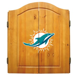 NFL Miami Dolphins Wooden Dartboard Cabinet Set