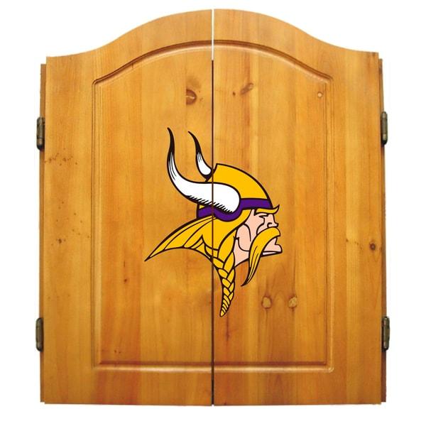 NFL Minnesota Vikings Wooden Dartboard Cabinet Set