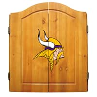NFL Minnesota Vikings Wooden Dartboard Cabinet Set