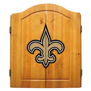 NFL New Orleans Saints Wooden Dartboard Cabinet Set