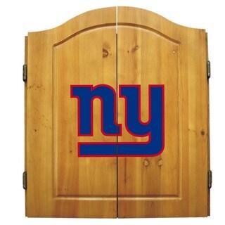 NFL New York Giants Wooden Dartboard Cabinet Set