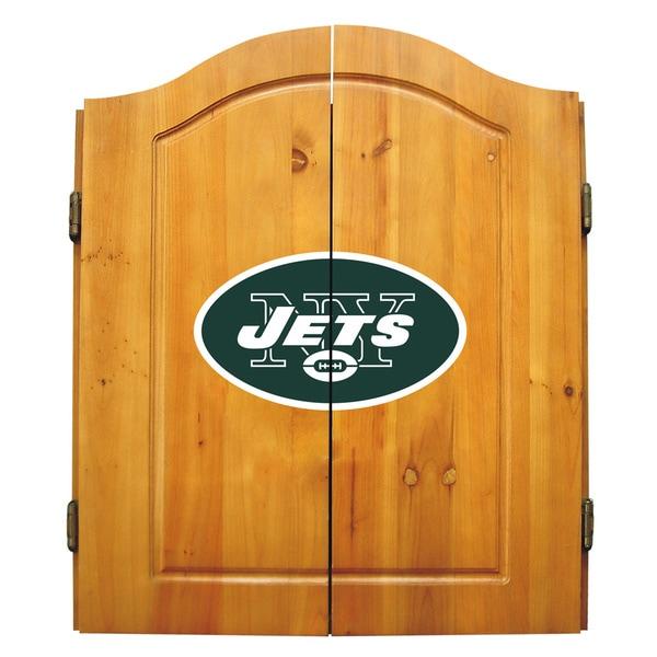 NFL New York Jets Wooden Dartboard Cabinet Set