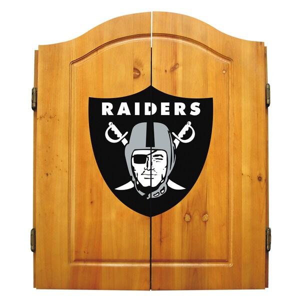 NFL Oakland Raiders Wooden Dartboard Cabinet Set