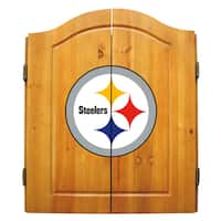 NFL Pittsburgh Steelers Wooden Dartboard Cabinet Set