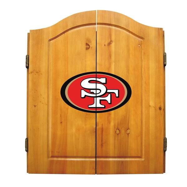 NFL San Francisco 49ers Wooden Dartboard Cabinet Set