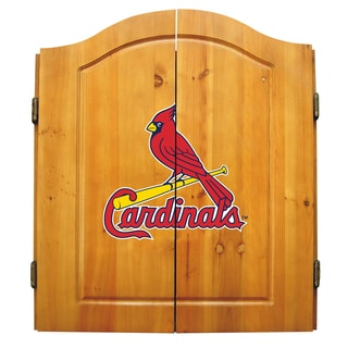 MLB St. Louis Cardinals Wooden Dartboard Cabinet Set