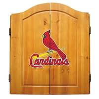 MLB St. Louis Cardinals Wooden Dartboard Cabinet Set