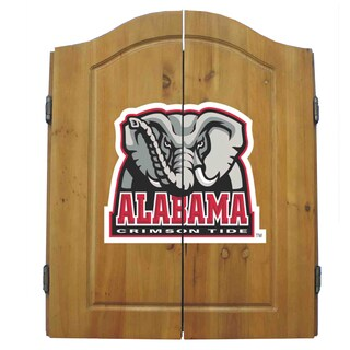 NCAA Alabama Crimson Tide Wooden Dartboard Cabinet Set