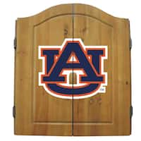 NCAA Auburn Tigers Wooden Dartboard Cabinet Set