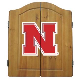 NCAA Nebraska Cornhuskers Wooden Dartboard Cabinet Set