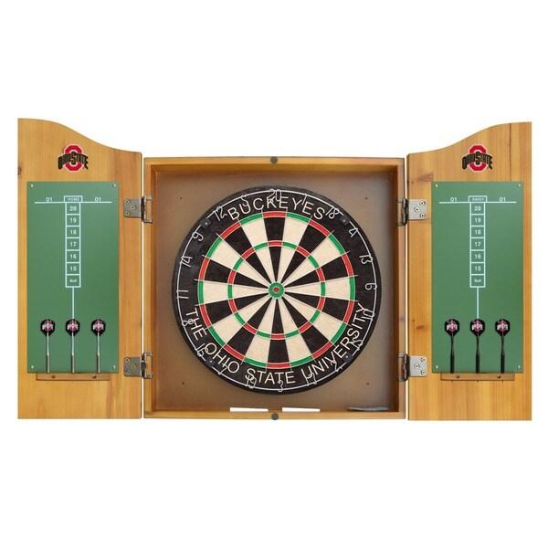 NCAA Ohio State Buckeyes Wooden Dartboard Cabinet Set - Free ...