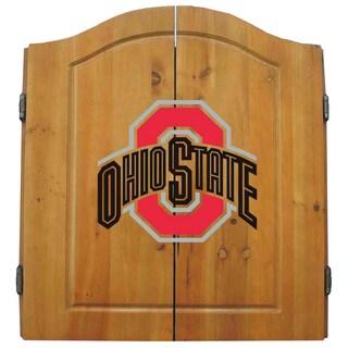 NCAA Ohio State Buckeyes Wooden Dartboard Cabinet Set