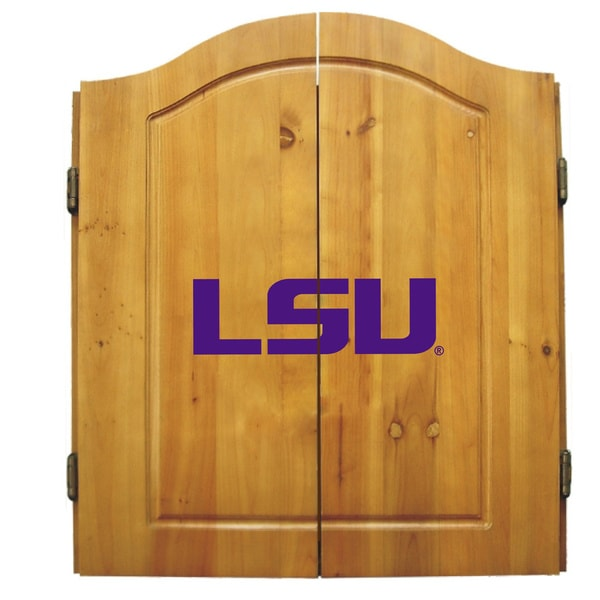 NCAA LSU Tigers Wooden Dartboard Cabinet Set