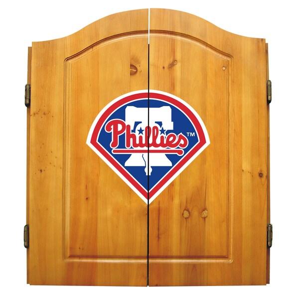 MLB Philadelphia Phillies Wooden Dartboard Cabinet Set