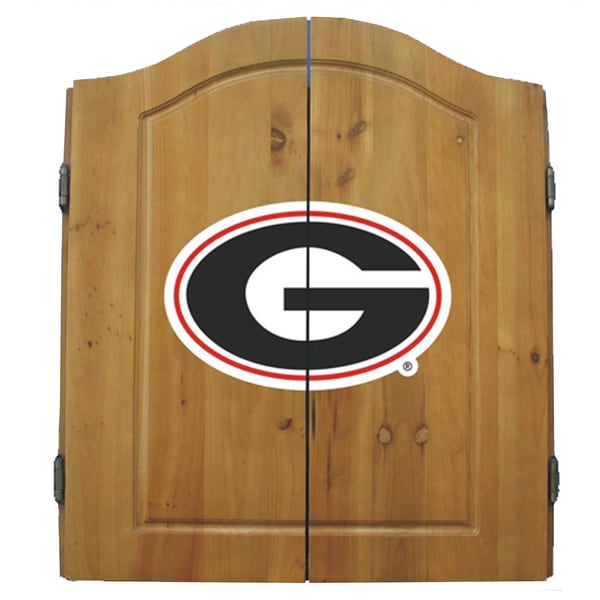NCAA Georgia Bulldogs Wooden Dartboard Cabinet Set