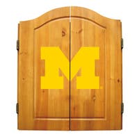 NCAA Michigan Wolverines Wooden Dartboard Cabinet Set