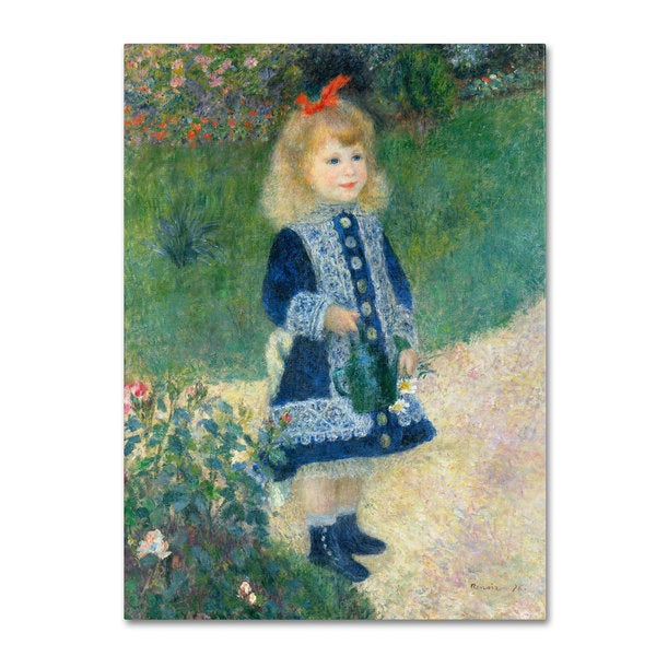 Pierre Renoir 'A Girl With a Watering Can 1876' Canvas Art
