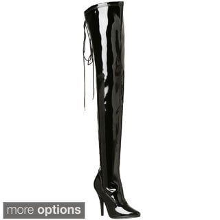 Pleaser Women's 'Seduce-3063' Black Stretch Thigh-high Boots