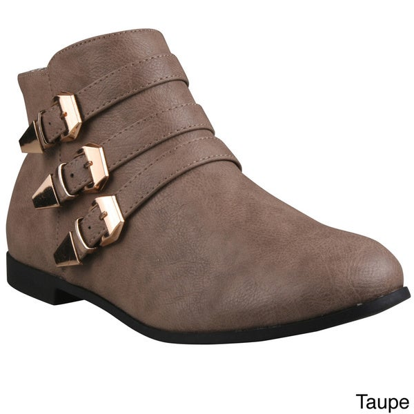 Refresh Women's 'Polly-02' Low-Heel Triple Buckled Ankle Booties. Opens flyout.