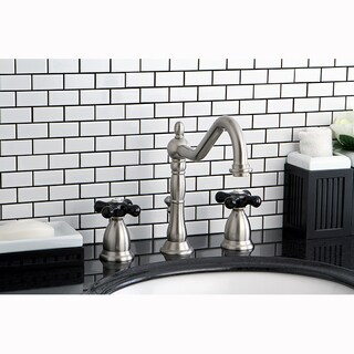 Victorian Brushed Nickel and Black Widespread Bathroom Faucet