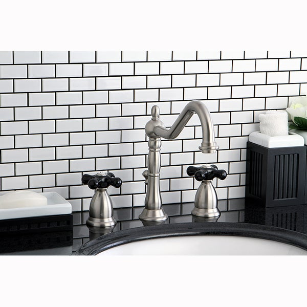 Black Widespread Bathroom Faucet : Victorian Satin Nickel and Black Widespread Bathroom Faucet - Free ...