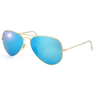 Ray-Ban Aviator 'RB3025' Unisex Matte Gold/Blue Flash Lens Sunglasses