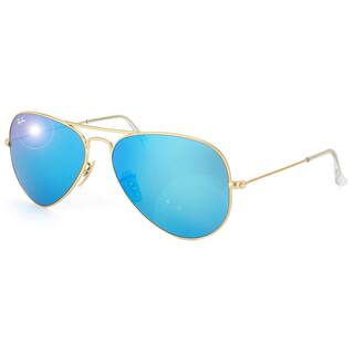 Ray-Ban Aviator 'RB3025' Unisex Matte Gold/Blue Flash Lens Sunglasses