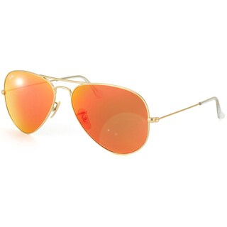 Ray-Ban Aviator Unisex Gold Frame Orange Flash Lens Sunglasses