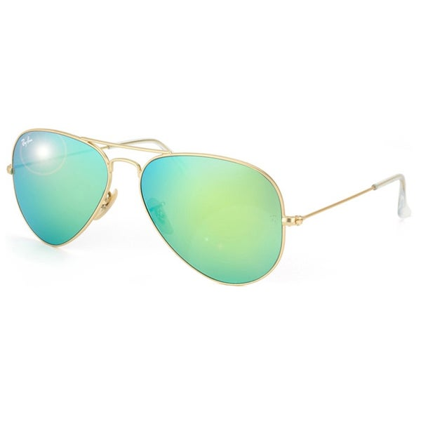 ray ban aviator rb3025 unisex gold frame green flash lens sunglasses