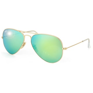 ray ban rb3025 aviator large metal  ray ban aviator rb3025 unisex gold frame green flash lens sunglasses