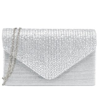 Dasein Rhinestone Frosted Evening Clutch Handbag