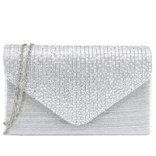 Dasein Women's Rhinestone Frosted Evening Clutch Handbag