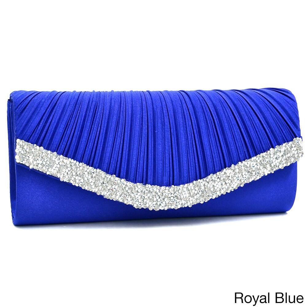 Dasein Pleated Crystal Trim Evening Clutch (Royal Blue), ...
