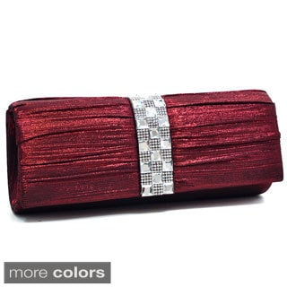 Dasein Pleated Rhinestone Jewel Evening Clutch