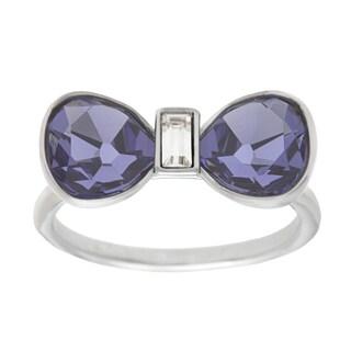 Swarovski Timid Purple and Clear Gemstone Bow Fashion Ring