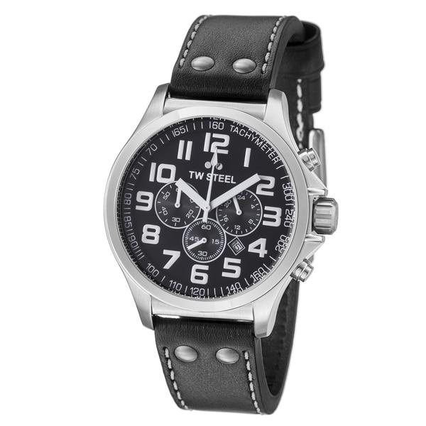 TW Steel Men's TW412 'Pilot' Black Dial Black Leather Strap Quartz Watch