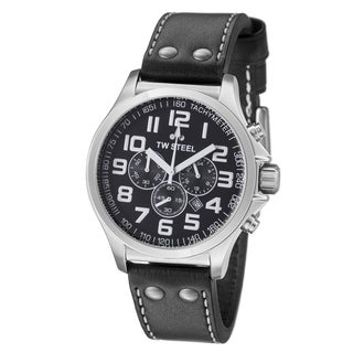 TW Steel Men's TW412 'Pilot' Black Dial Black Leather Strap Quartz Watch