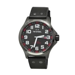 TW Steel Men's TW420 'Pilot' Grey Dial Grey Leather Strap Quartz Watch
