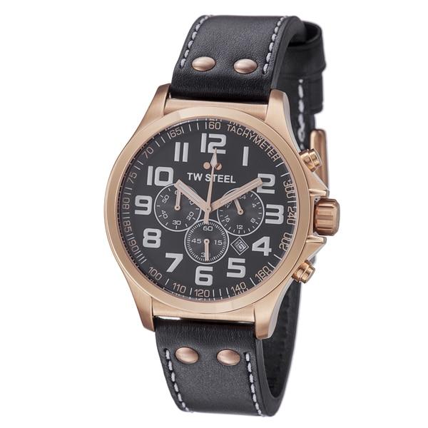 TW Steel Men's TW418 'Pilot' Black Dial Rose Goldtone Chronograph Watch