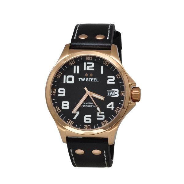 TW Steel Men's TW416 'Pilot' Black Dial Rose Goldtone Quartz Strap Watch