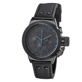 TW Steel Men's TW904 'Canteen' Black Dial Black Leather Strap Watch
