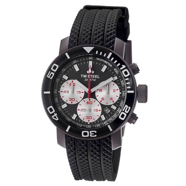 TW Steel Men's TW704 'Grandeur Dive' Grey Dial Black Rubber Strap Watch