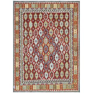 Herat Oriental Afghan Hand-woven Kilim Rust/ Light Blue Wool Rug (8'5 x 11'7)