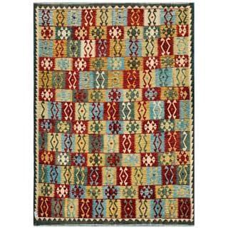 Herat Oriental Afghan Hand-woven Kilim Gold/ Red Wool Rug (8'2 x 11'5)