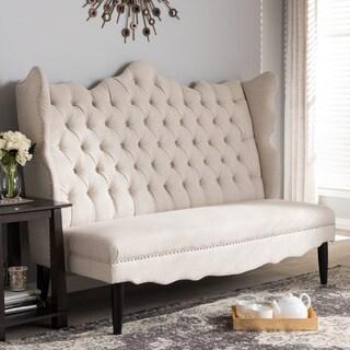 baxton studio witherby beige linen modern banquette bench