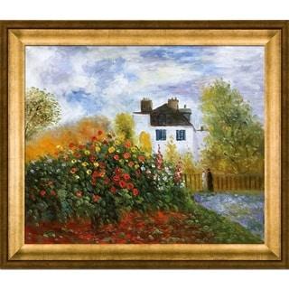 Claude Monet 'The Garden of Monet at Argenteuil, 1873' Hand-painted Framed Canvas Art