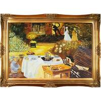 Claude Monet The Luncheon Hand Painted Framed Canvas Art