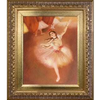 Edgar Degas 'Star Dancer (On Stage)' Hand Painted Framed Canvas Art
