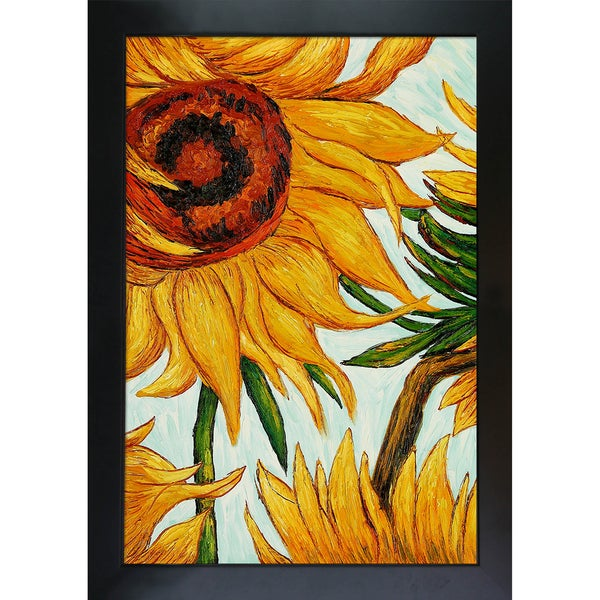 def48ab73d8 Shop Vincent Van Gogh  Sunflowers  Detail Hand-painted Framed Canvas ...